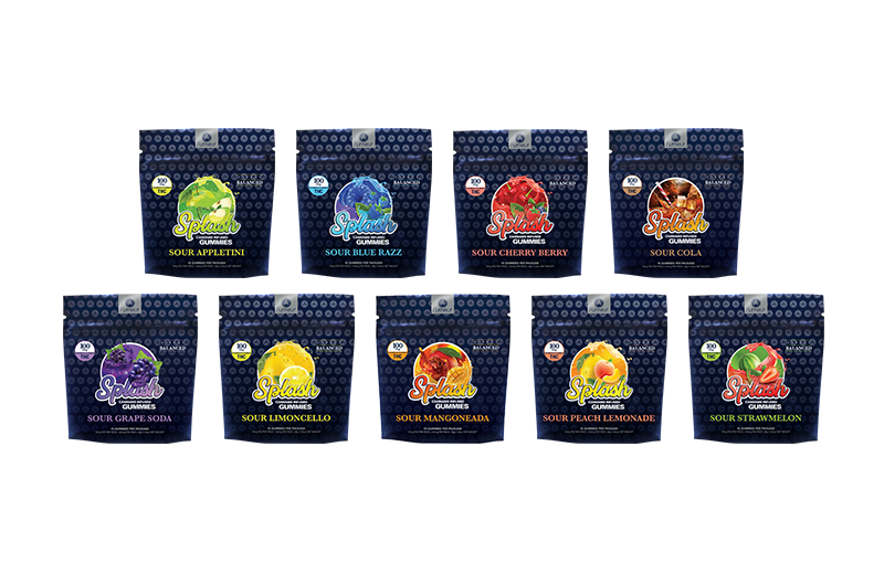 A product lineup of Splash Sour Gummie packages, 9 flavors in all.