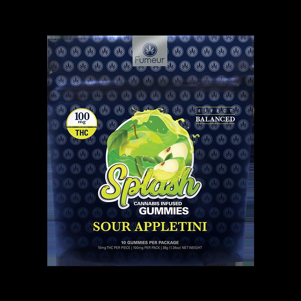 Blue packaging of Sour Splash Gummie's in the flavor chosen from the menu below