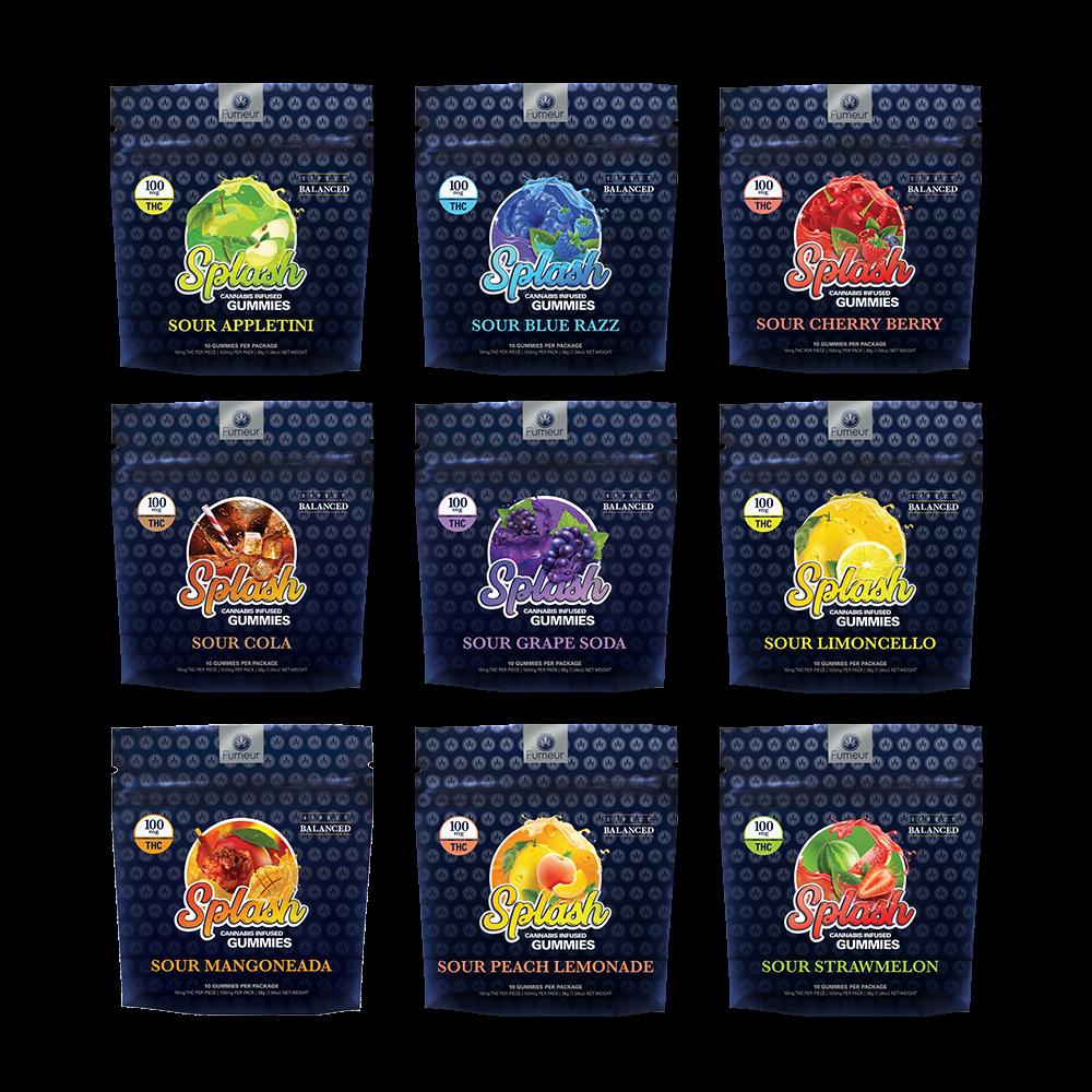 Product lineup of Sour Splash Gummie's