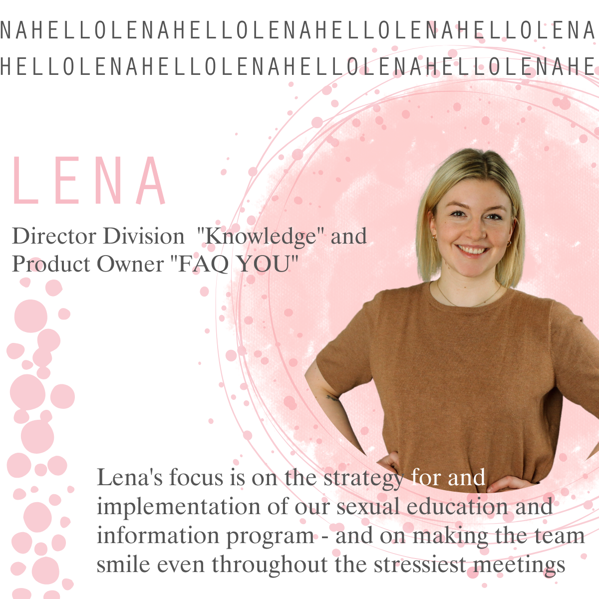"""Hi Lena, how are you? - Our New Director of the """"Knowledge"""" Division and Product Owner """"FAQ YOU"""""""