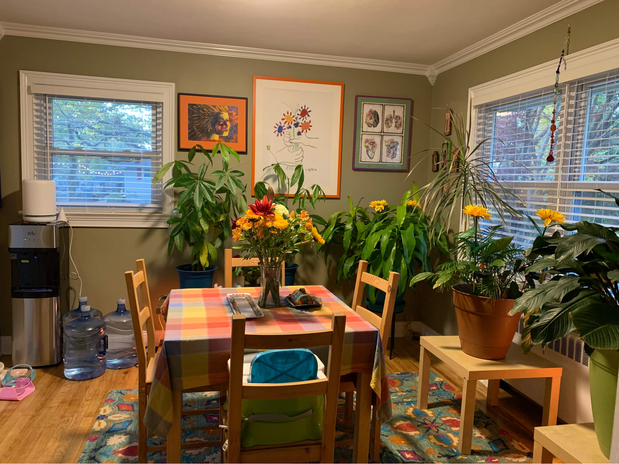 Centre table with chairs and indoor plants in a room