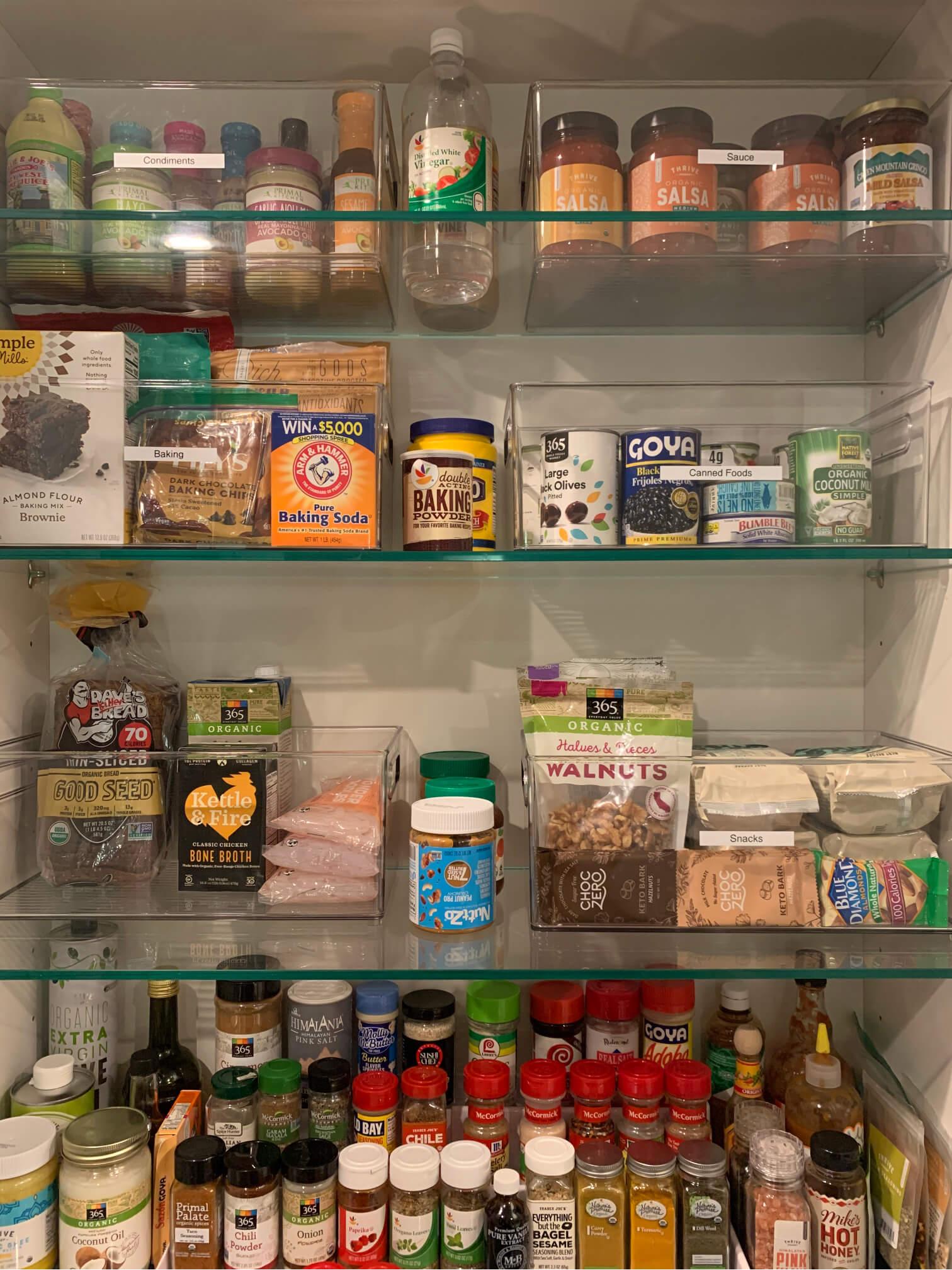 Organized Glass Rack with Food Items