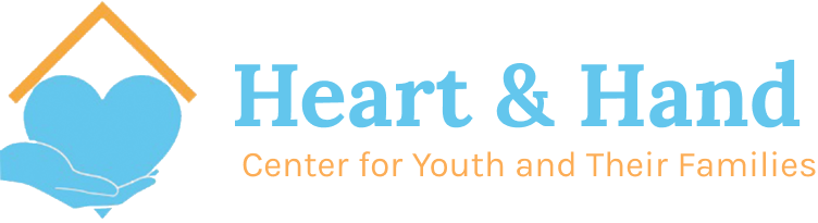 "Heart & Hand in blue serif text with orange subtitle that says ""Center for Youth and Their Families"" next to logo of a blue hand holding a blue heart with an orange roof"