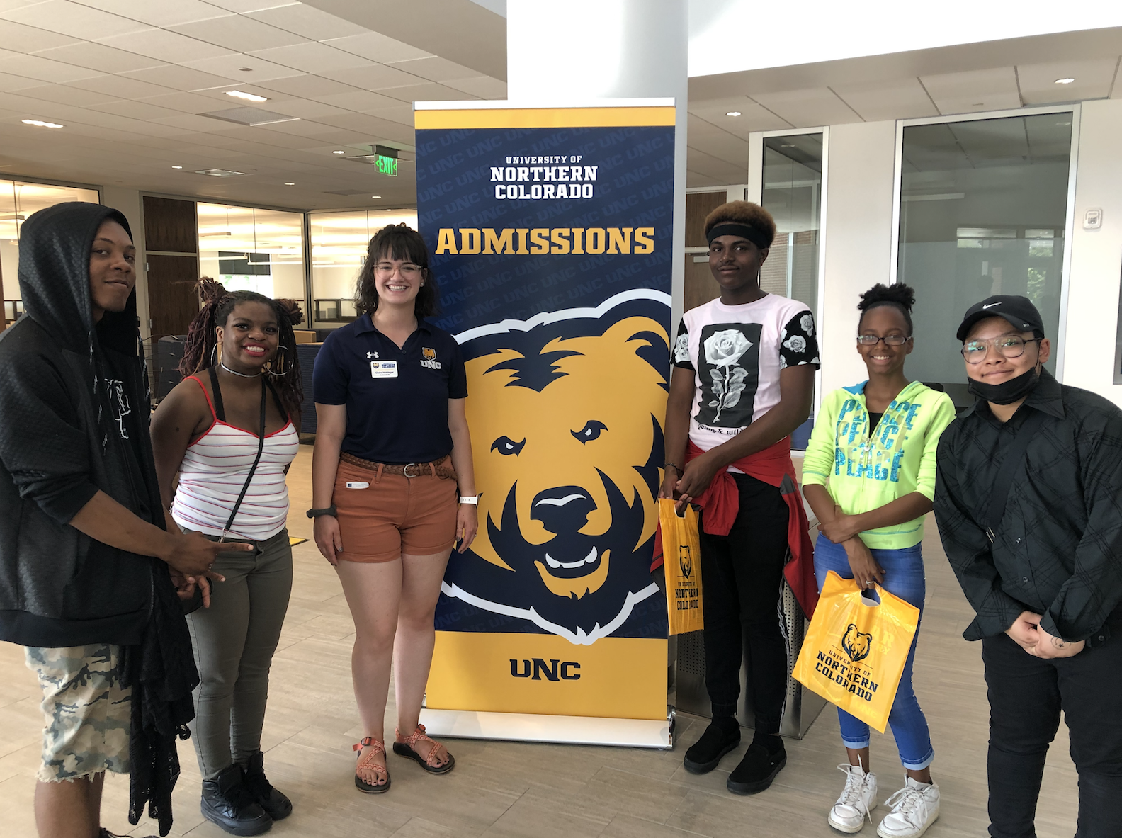 Prospective students and a tour guide at the University of Northern Colorado