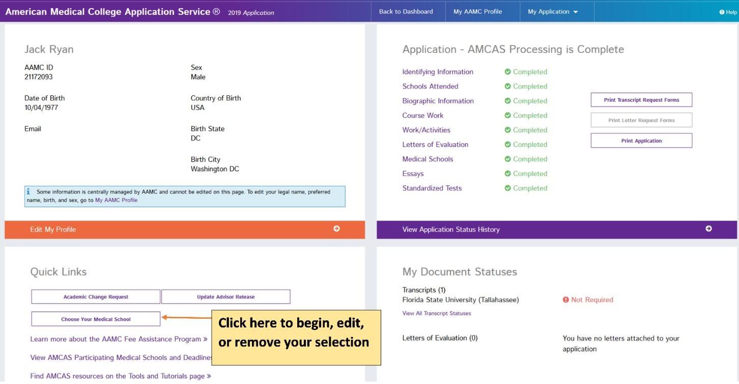 AMCAS' choose your school tool