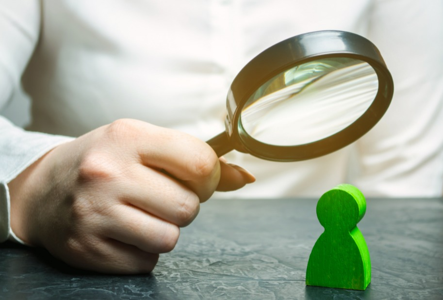 Magnifying class inspecting a person's personal characteristics
