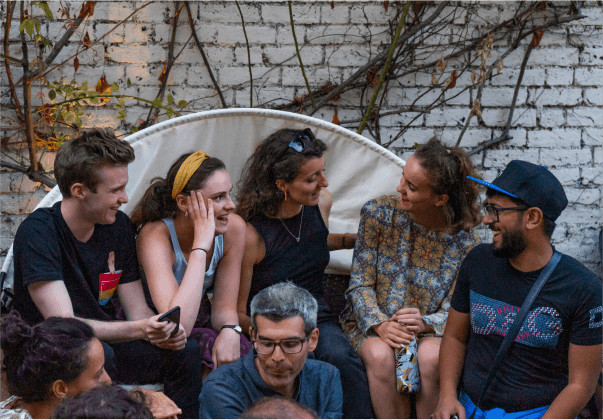 group of friends during the garden party