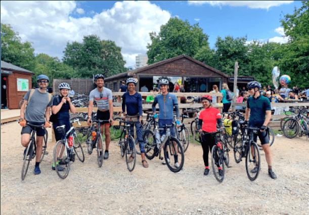group of friends ready to biking