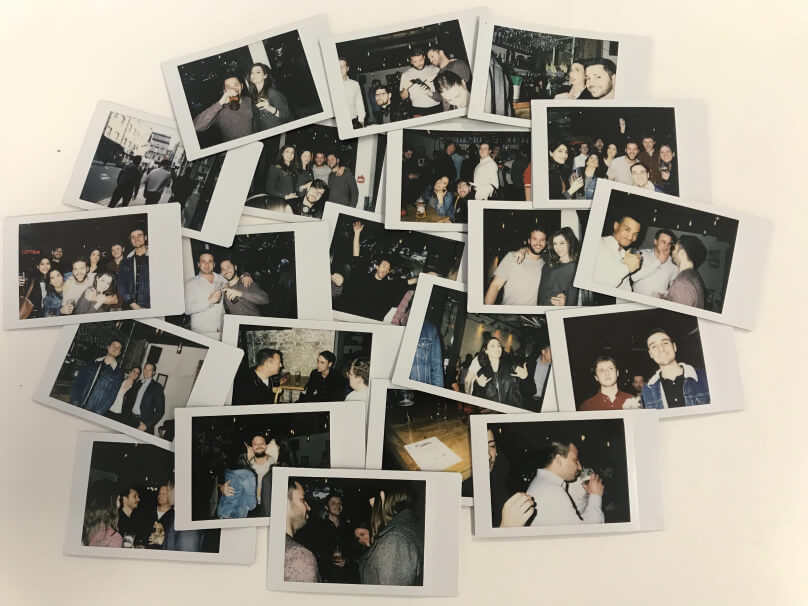 scattered photos from polaroid