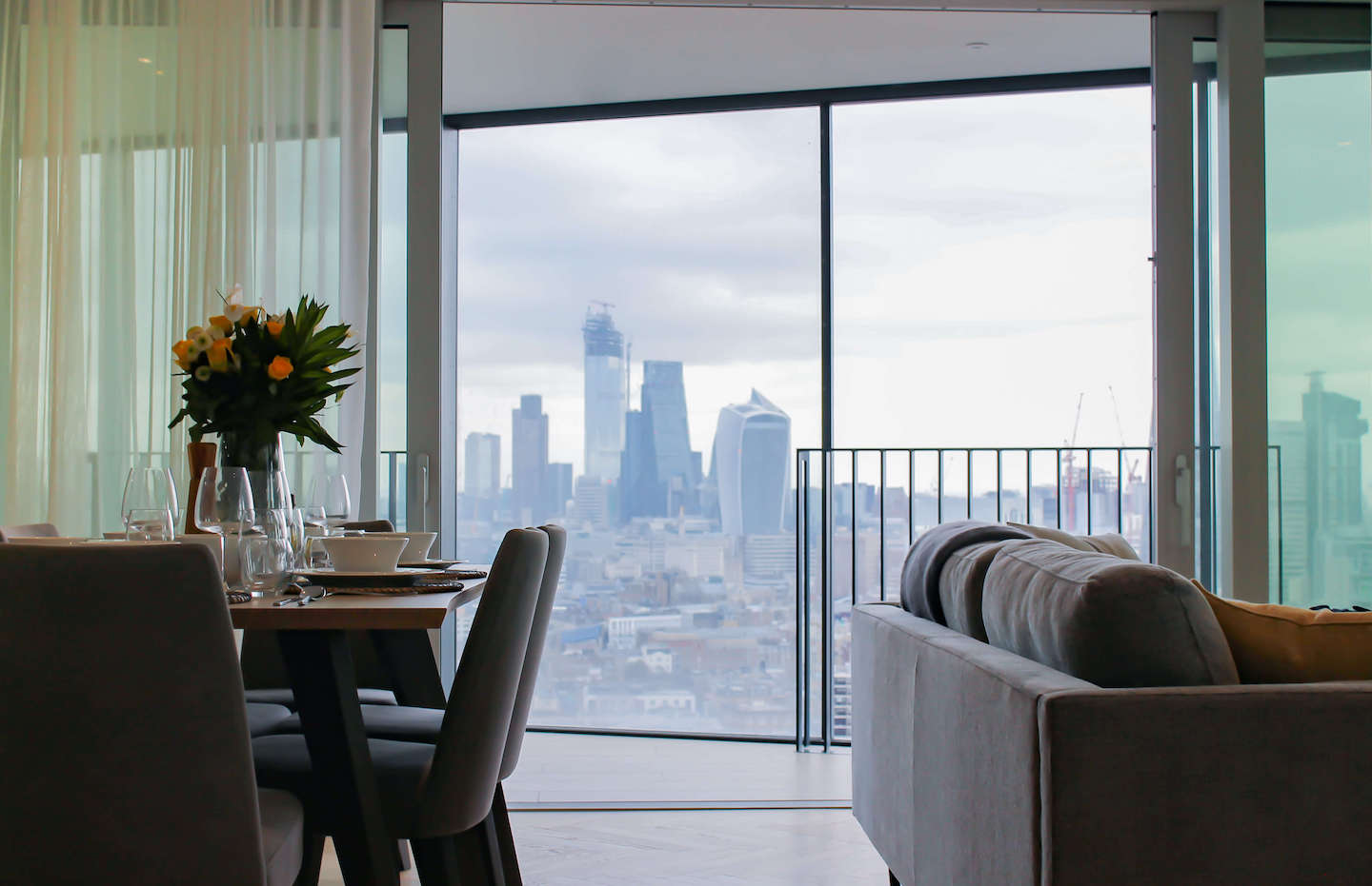 living room with spectacular views of central London