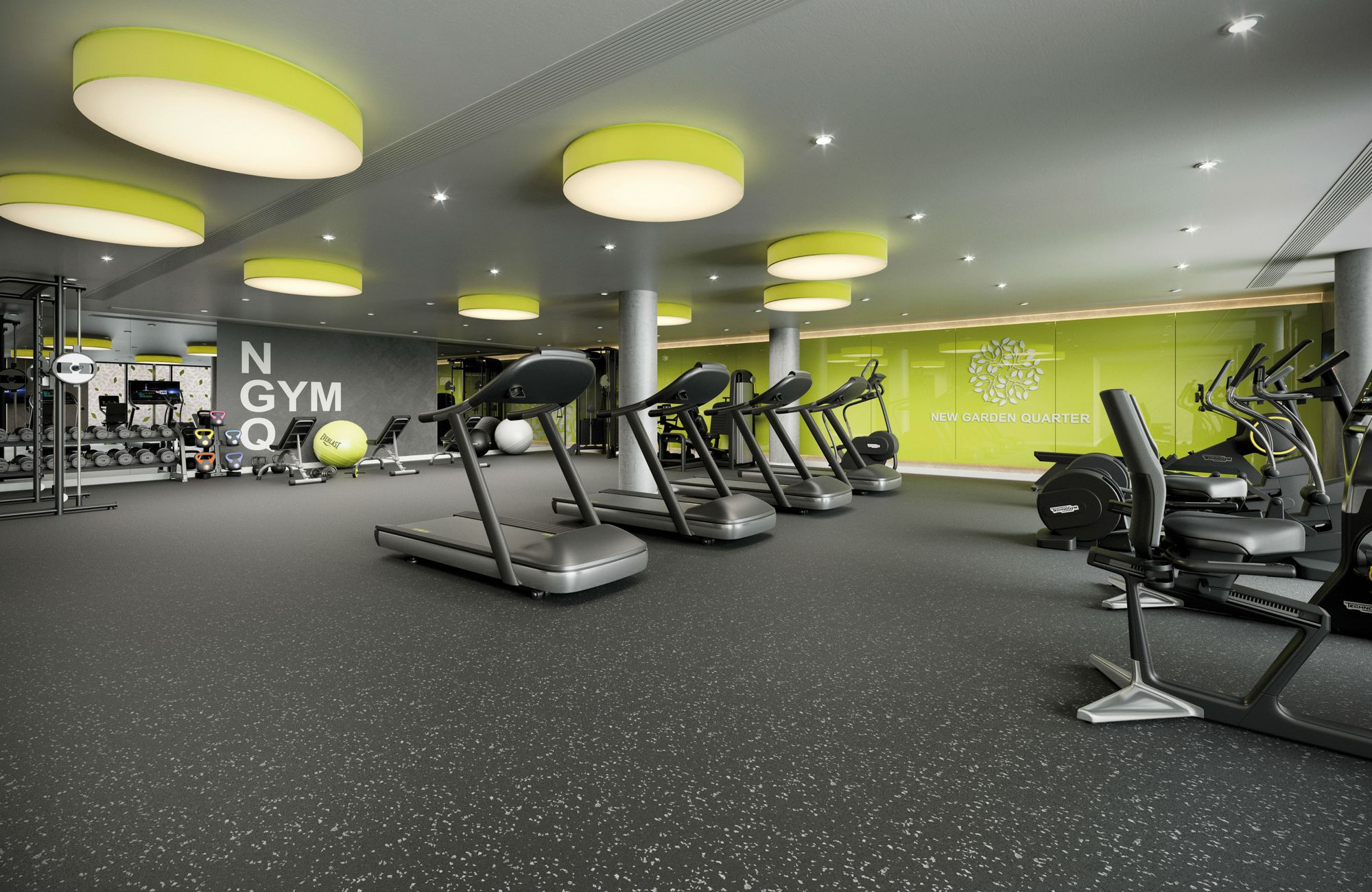 on-site gym 5 minutes from your bed