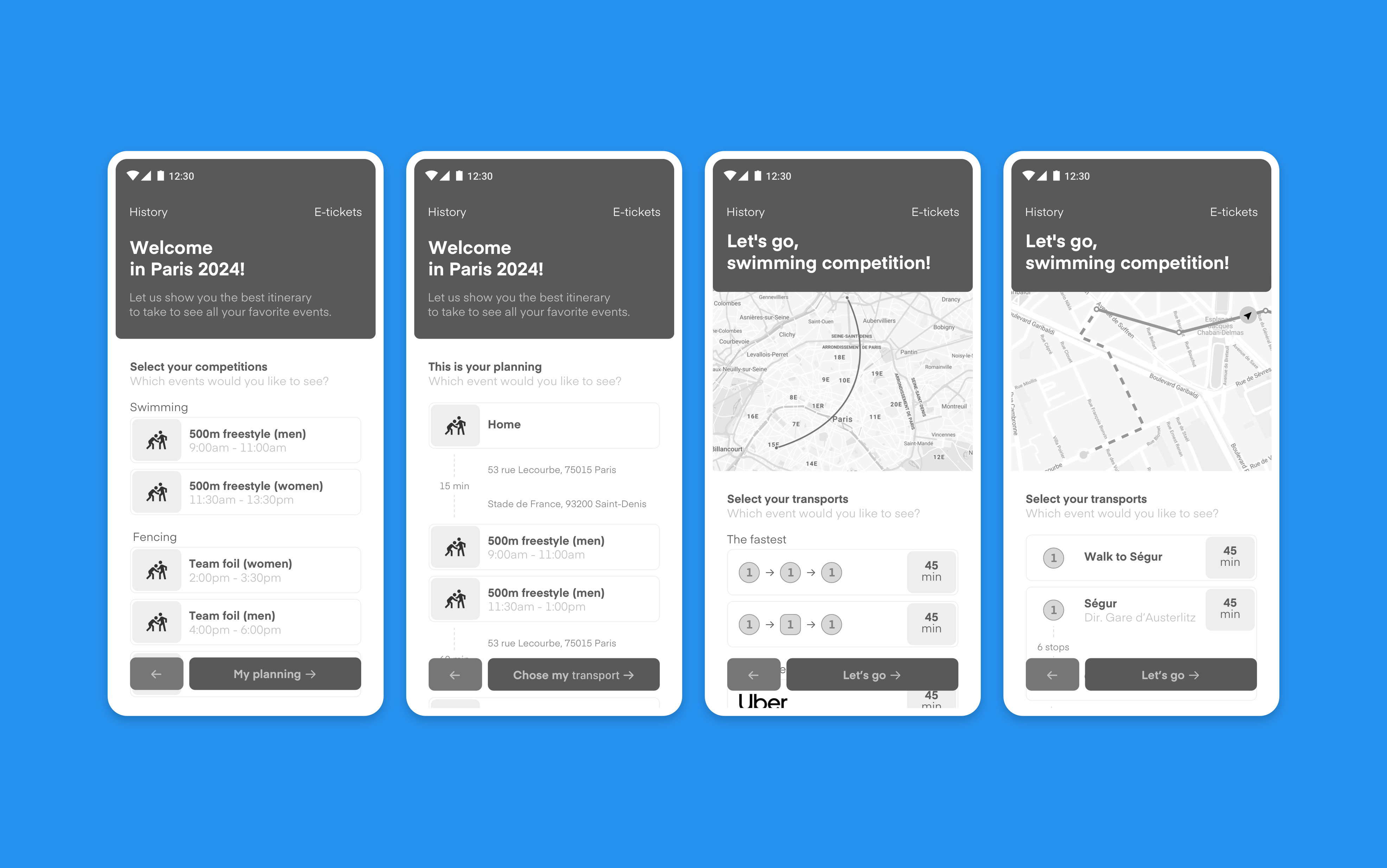 Wireframes of Geolympics