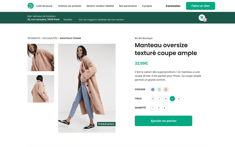 Product page of Coût de Pouce