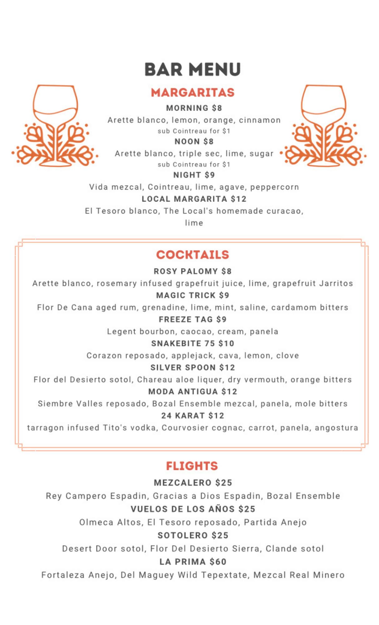 Front of bar menu