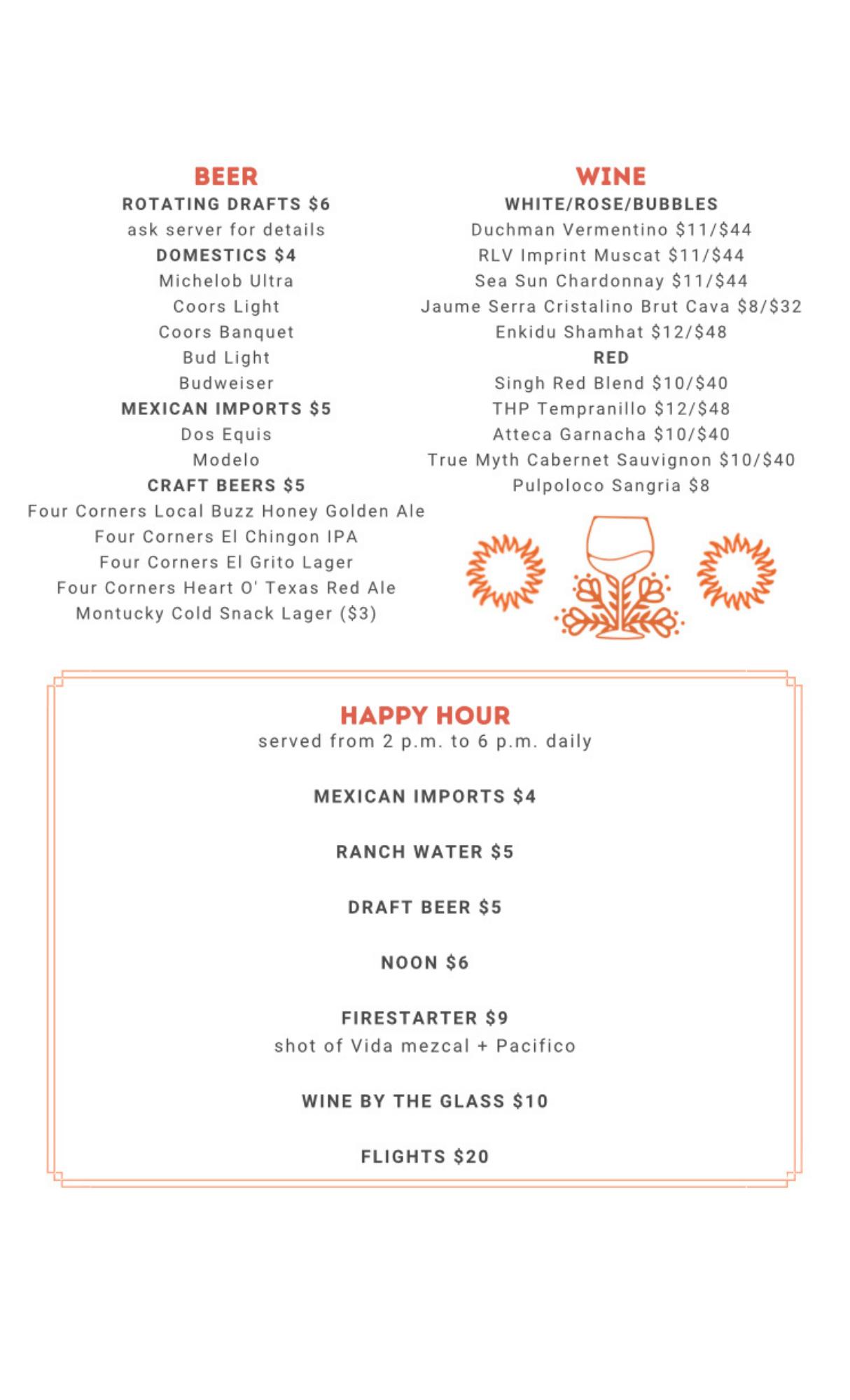 Back of bar menu