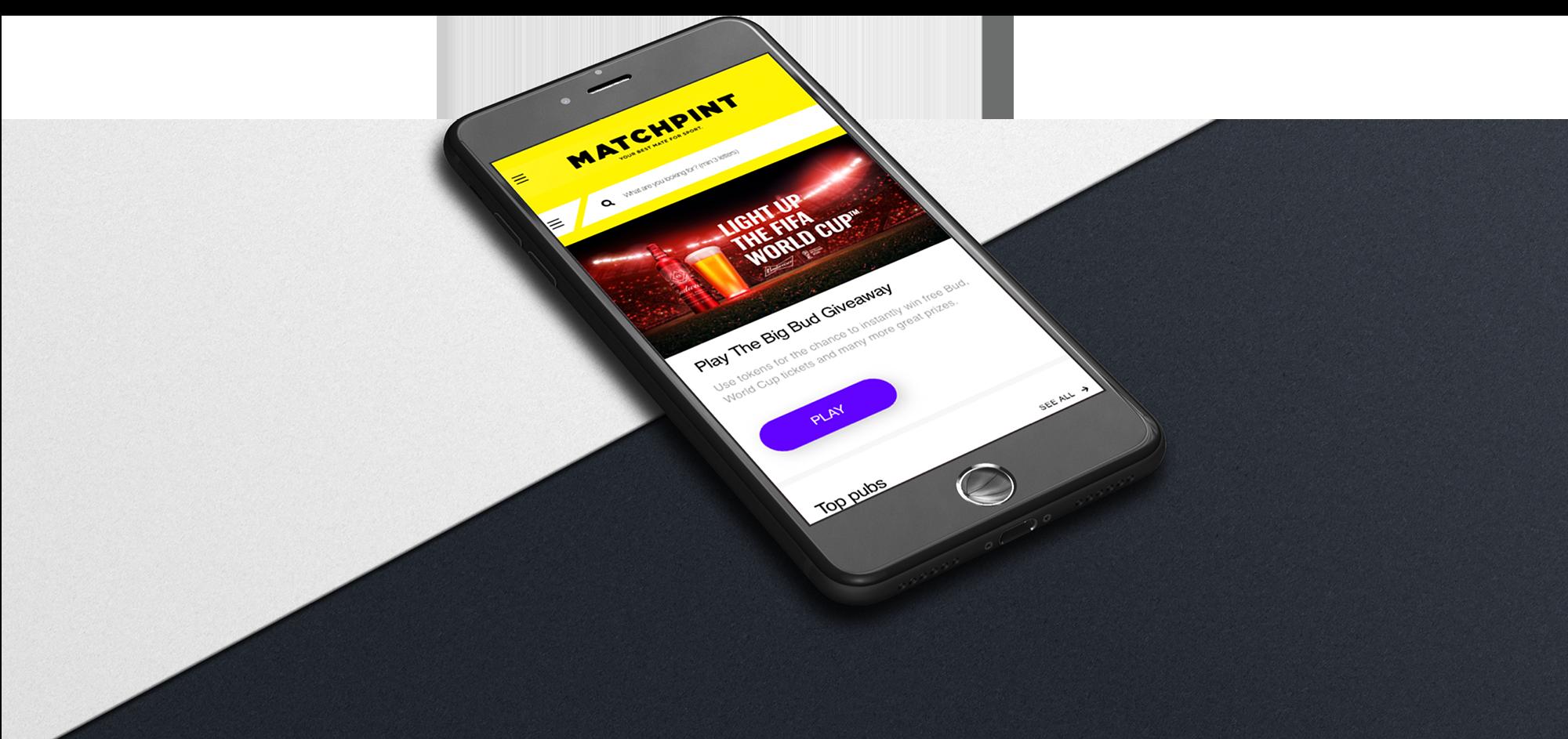 Matchpint mobile screen
