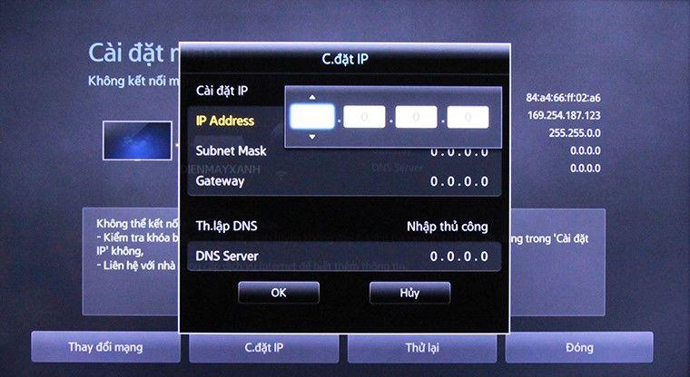 khắc phục khi tivi không kết nối được mạng