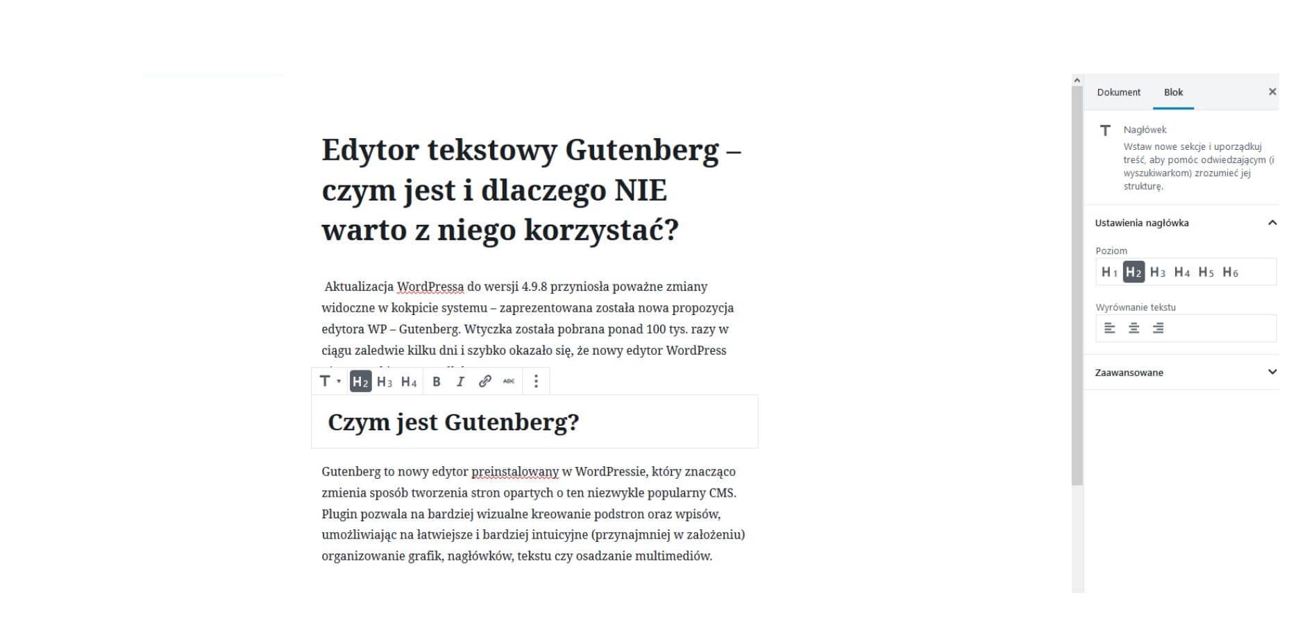 funkcje edytowa gutenberg w wordpress