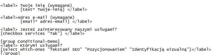 pola zalezne w contactform wordpress