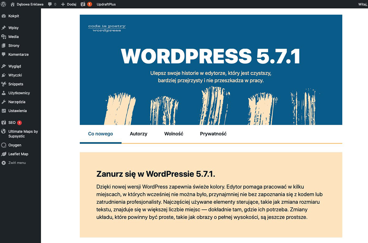 kokpit panelu wordpress