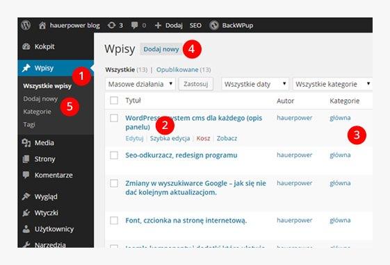 lista wpisow w systemie cms wordpress