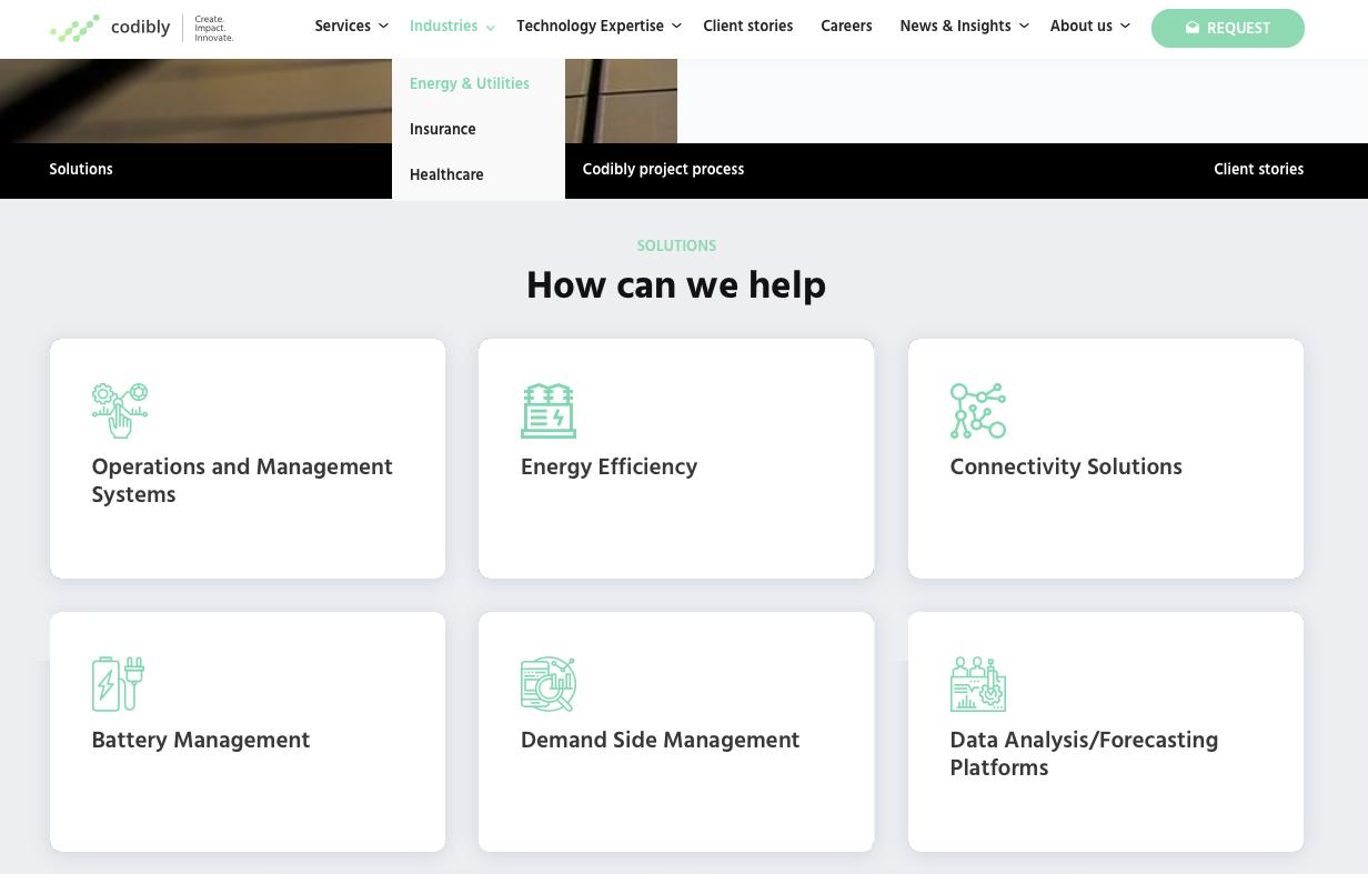 architektura menu strony codibly