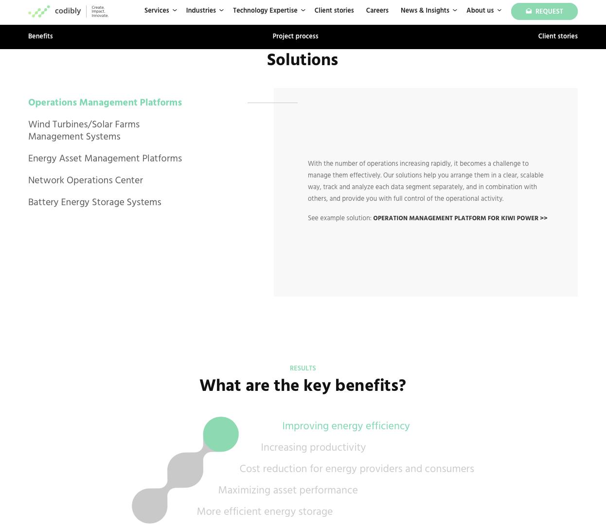 elementy interaktywne podstron solutions