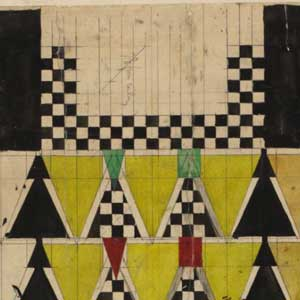 Detail of design drawing for 78 Derngate.Charles Rennie Mackintosh. 1916. Image: Hunterian Art Gallery