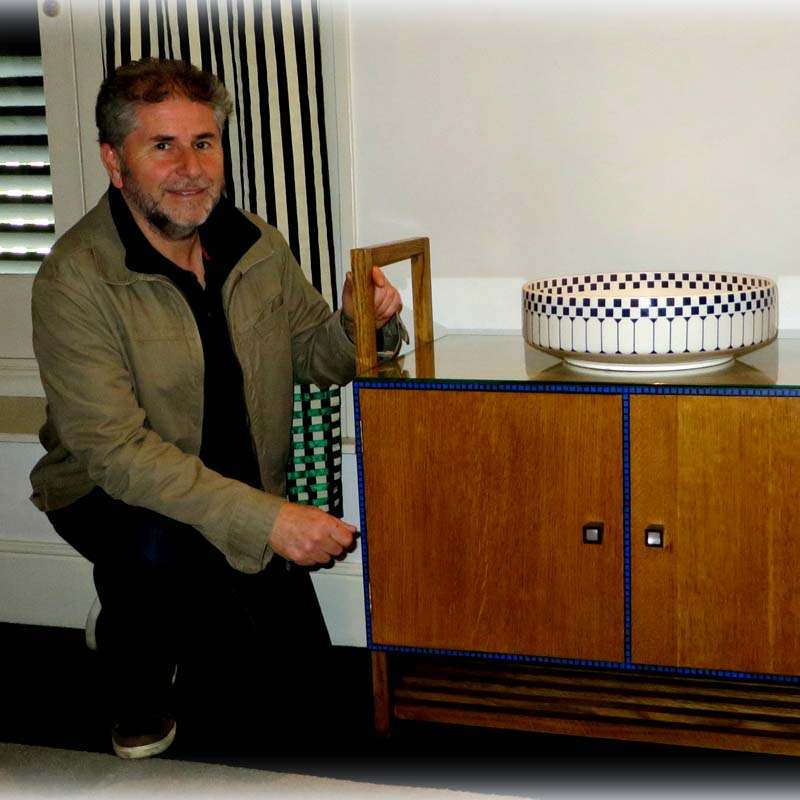 Professor Jake Kaner with his exact replica of Charles Rennie Mackintosh's Guest Bedroom Washstand