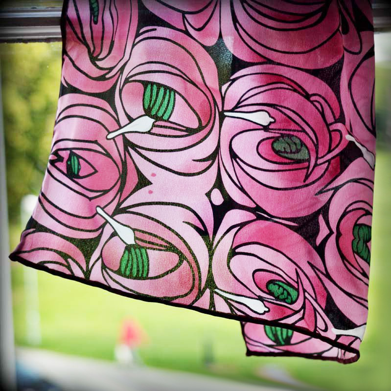 Silk Scarf - Rose and Teardrop