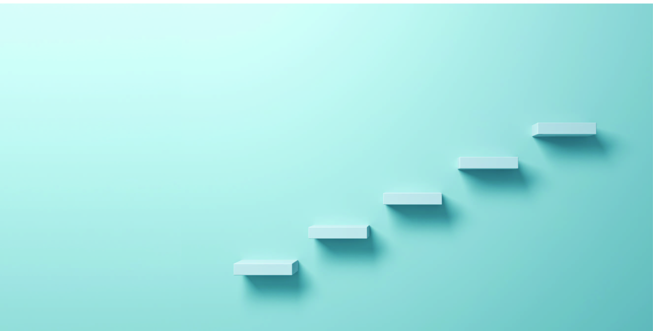 five floating stairs against a light blue wall