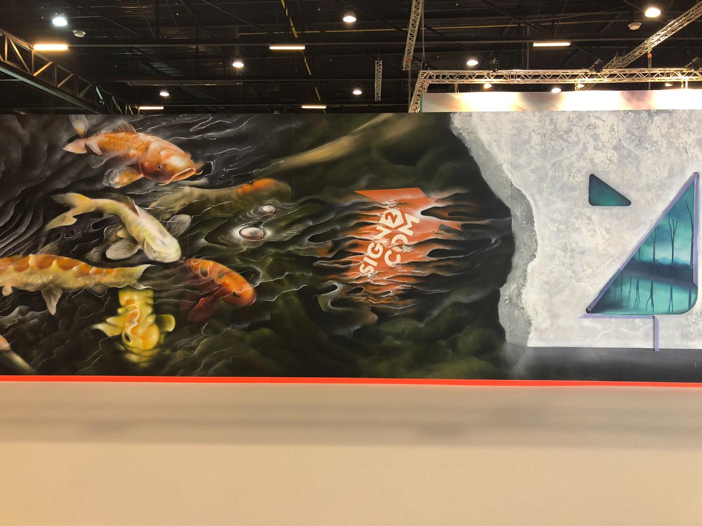 Demonstratie mural voor grafische beurs Sign2Com
