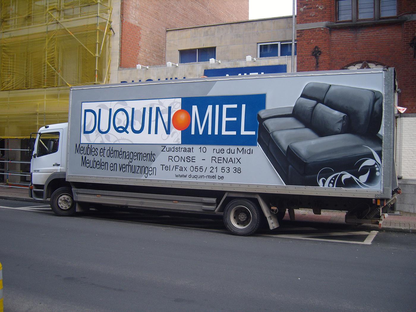 erosol belettering, reclame op camion
