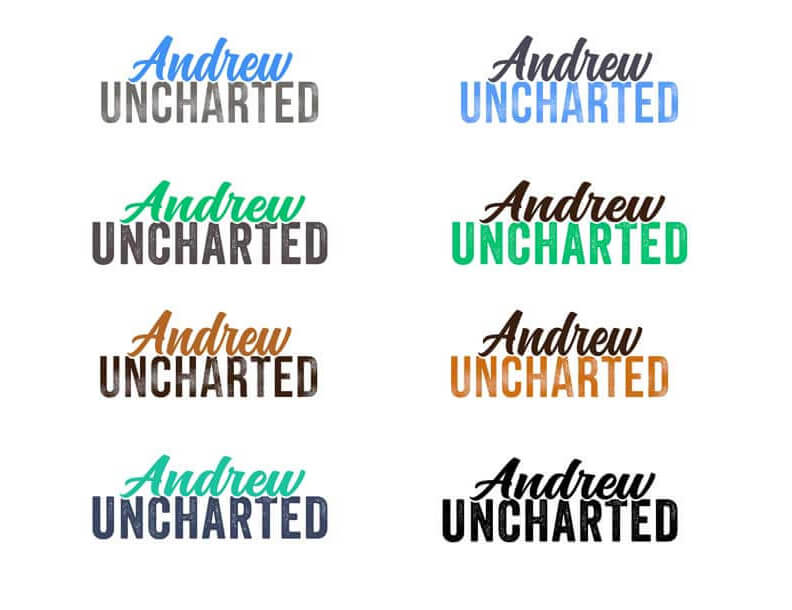 Andrew Uncharted logo design concepts