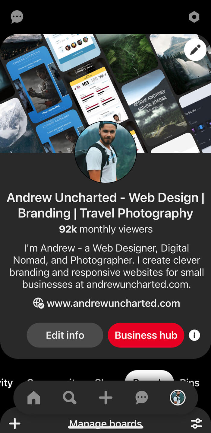 Andrew Uncharted Pinterest account