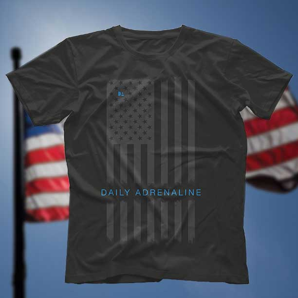 A Daily Adrenaline shirt design with the american flag