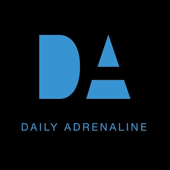The Daily Adrenaline logo design in black and blue