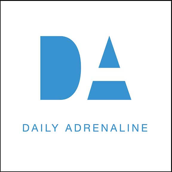 The Daily Adrenaline logo design in white and blue