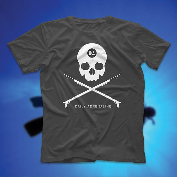 A Daily Adrenaline shirt design for spearfishing