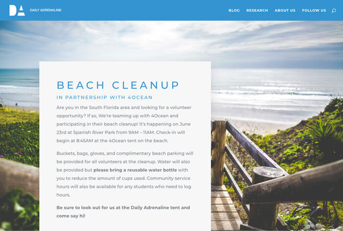 Daily Adrenaline responsive website design screenshot showing the beach cleanup with 4Oceans