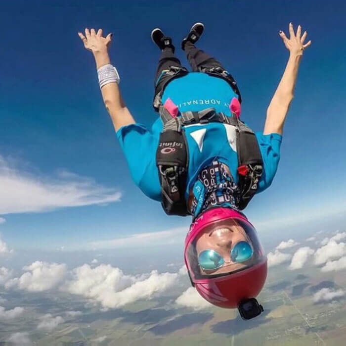A Daily Adrenaline sponsored athlete skydiving upside down