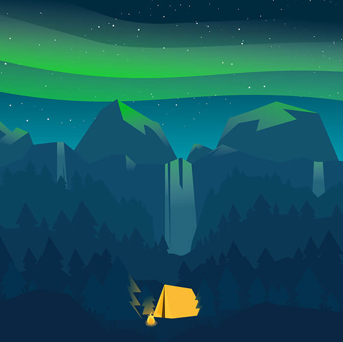 A gorgeously illustrated camp by a  waterfall with the northern lights overhead.
