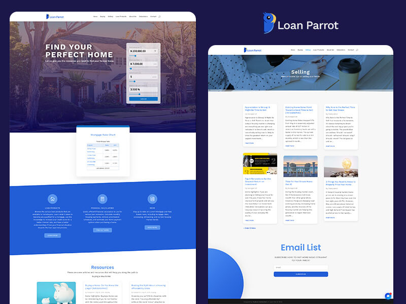 Loan Parrot, a Logo, Web Design, and Divi project