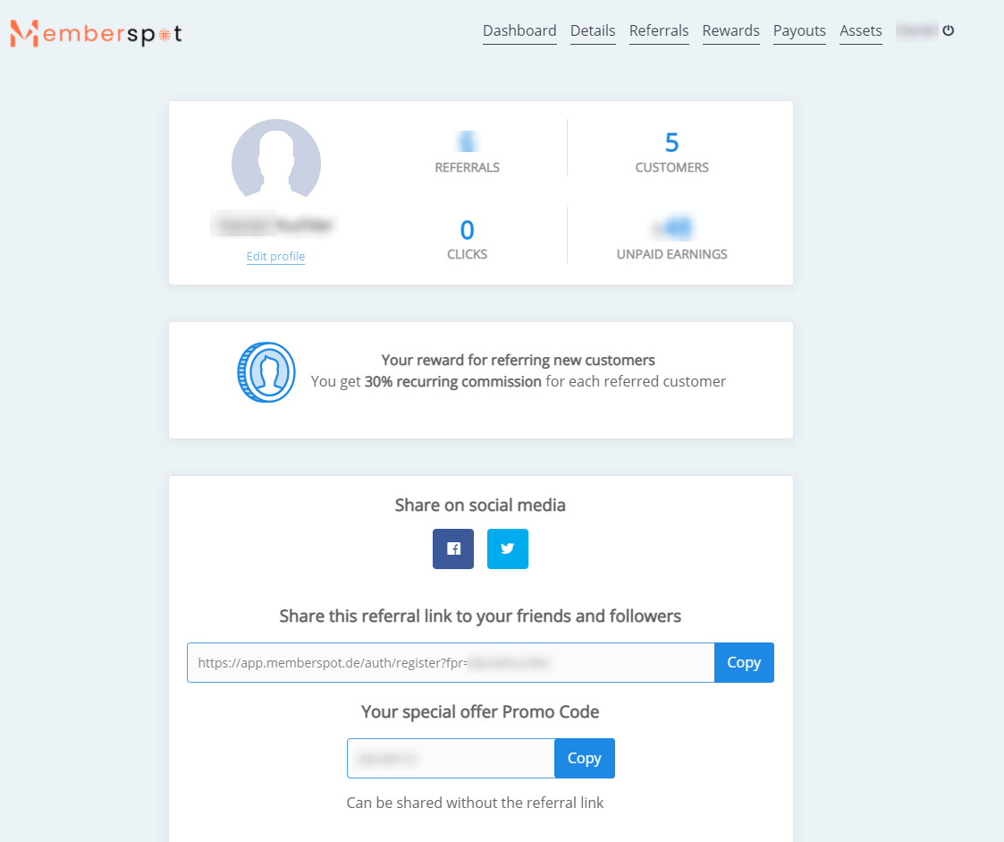 Screenshot Affiliate Dashboard