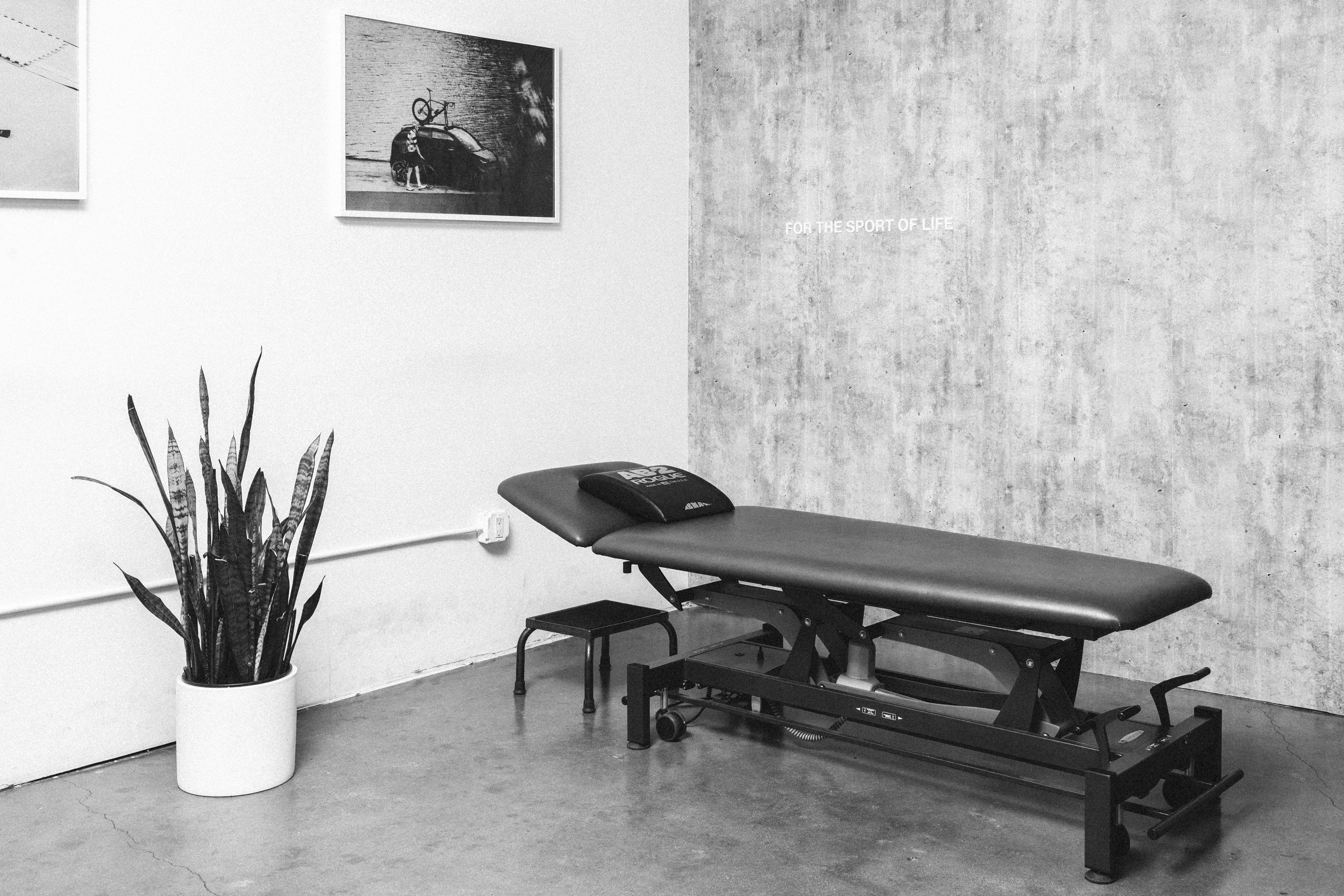 Physical Therapy table in an exam room.