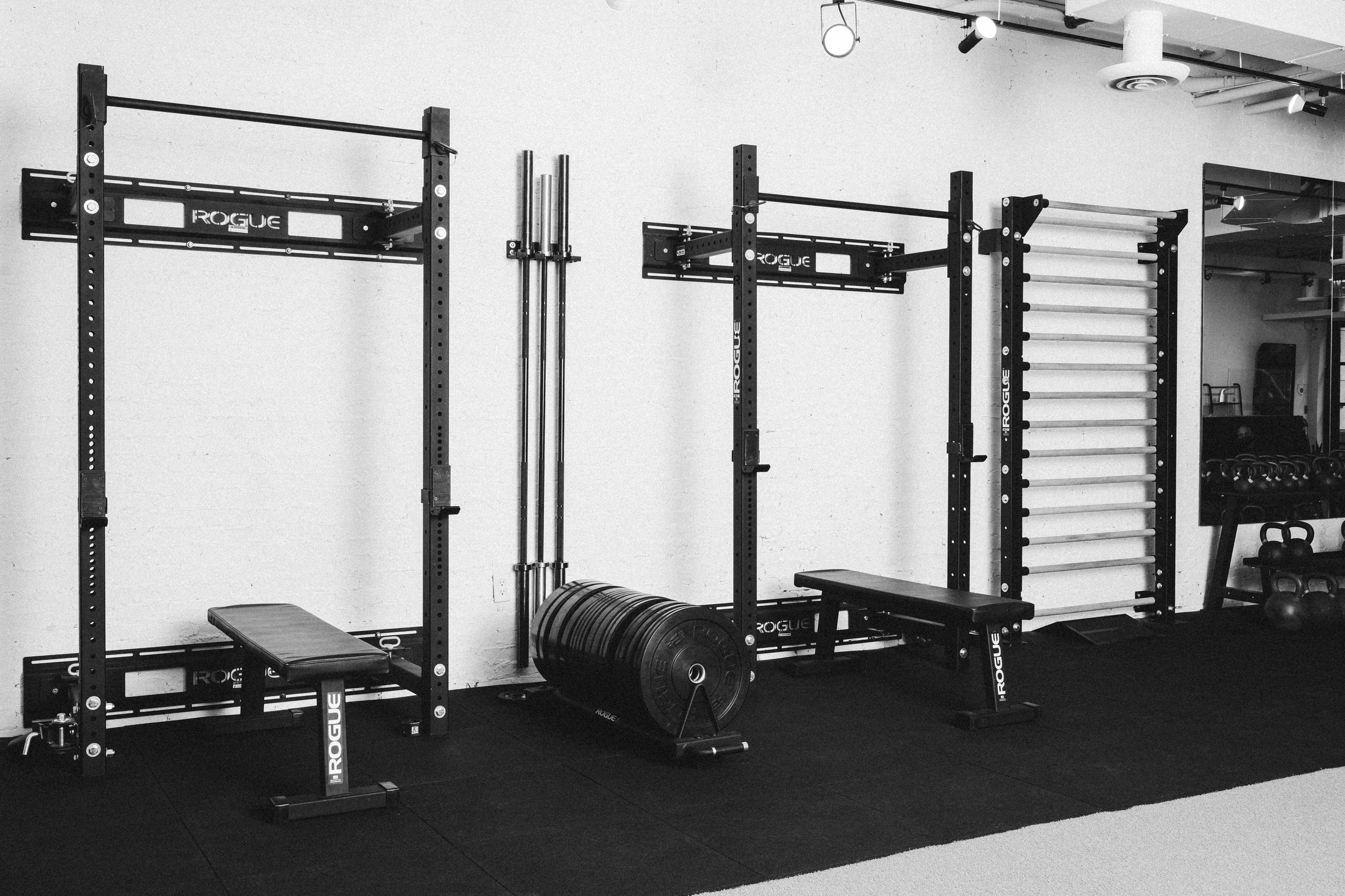 Workout stations at a fitness gym