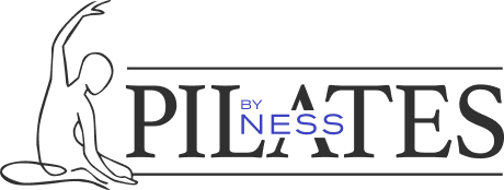 Pilates by Ness logo, includes company name and a line drawing of the mermaid exercise.