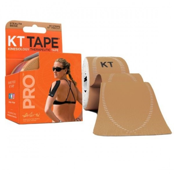 a woman using the KT Wave on her shoulder, displayed on the product packaging