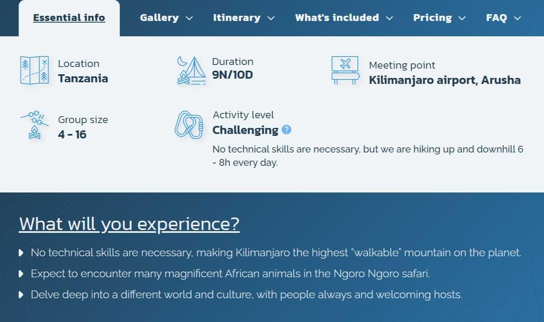 EST Adventure tour information image
