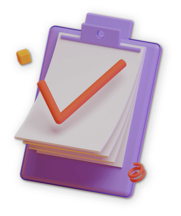 3D illustration of a purple checklist with a huge check sign on it.